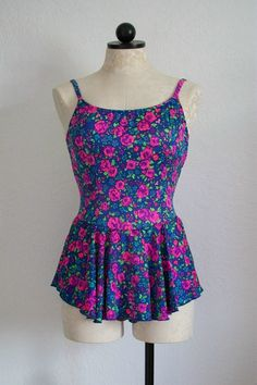 SOLD!!! Maxine of Hollywood Vintage 80s Floral One by VintageHagClothing SOLD!!!