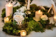 candles with green moss wedding Moss Centerpiece Wedding, Moss Wedding Decor, Candle Wedding Centerpieces, Wedding Decorations, Enchanted Forest Wedding, Woodland Wedding, Cute Wedding Ideas, Floral Wedding, Boho Wedding