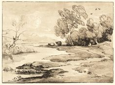 Thomas Gainsborough, 'Wooded River Landscape with Shepherd and Sheep' c.1785, reprinted 1971