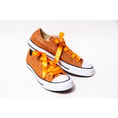 Glitter Sedona Orange Canvas Converse All Star Low Top Sneakers Tennis... ($130) ❤ liked on Polyvore featuring shoes, sneakers, glitter sneakers, tennis sneakers, orange sneakers, glitter shoes and orange tennis shoes