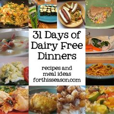 31 Days of Dairy Free Dinners - Recipes and Meal Ideas from forthisseason.com some may be #FODMAP free as well