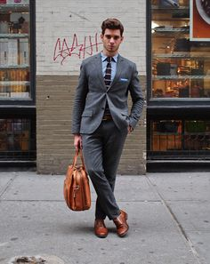 My Focus here: How to dress....light brown shoes with charcoal suit.   New York City Street Style by Ben Ferrari