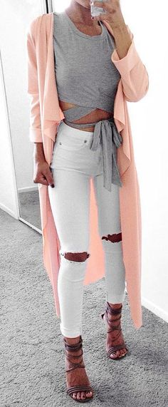 #spring #outfits Pink Coat + Grey Bow Top + White Destroyed Skinny Jeans + Grey Sandals