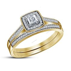 1.35 CT Princess & Round Diamond 925 Silver Bridal Ring Set In 4 Prong Setting #aonedesigns