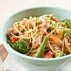 LOW GI Peanut Sauté Sauce on whole grain noodles and veggies - can customize it to your liking for follow exact recipe - I USE * boneless skinless chicken breast and sauté it with the veggies * I USE FRESH VEGGIES not frozen, and whatever I happen to have, I've made this about a dozen times and never the same way twice. ONE OF MY FAM'S FAV'S!!! ***