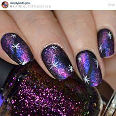 Blue to Red Holographic Ultra Chrome Flakie Nail Polish Nail Art Violet, Purple Nail Art, Pink Ombre Nails, Purple Nail Polish, Rose Gold Nails, Gradient Nails, Gel Polish, Camo Nail Designs, Nail Art Designs