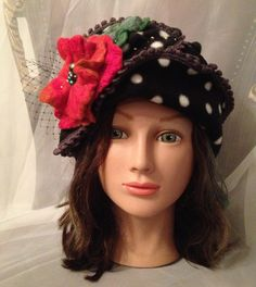 Designer   fleece winter hat cloche black white by Tatiana123, $85.00