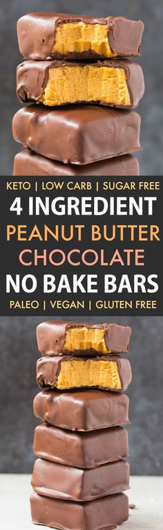 Healthy No Bake Peanut Butter Chocolate Bars (Keto, Low Carb, Paleo, Vegan, Sugar Free)- An easy 4-ingredient recipe for no bake peanut butter bars with chocolate! The perfect ketogenic dessert or protein packed snack- Peanut-free option included! | Recipe on thebigmansworld.com