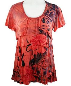 Pretty Woman - Double Ruffle, Scoop Neck, Cap Sleeve, Sublimation Print Coral Top