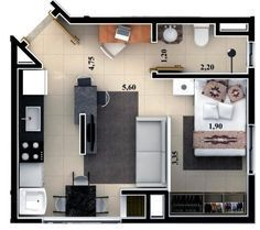 Floor plan rendering by on DeviantArt Studio Apartment Floor Plans, Studio Apartment Layout, Apartment Plans, Apartment Design, Layouts Casa, House Layouts, Small House Plans, House Floor Plans, Weekend House