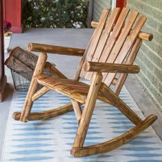 Coral Coast Oak Log Rocking Chair - Outdoor Rocking Chairs at Hayneedle