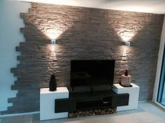 Natural stone wall cladding - stone cladding # living room - Do it yourself decoration Stone Wall Living Room, Living Room Tv, Decorative Stone Wall, Wall Design, House Design, Natural Stone Wall, Wall Cladding, Stone Cladding, Bedroom Colors