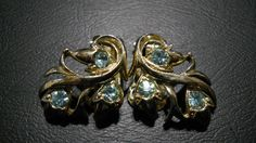 Vintage Gold Tone and Blue Rhinestone Clip-On Earrings. by TheLatibule on Etsy