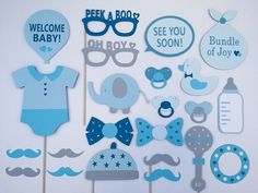 Boy Baby Shower Photo Booth Props. #BabyPhotoBooth #BabyShowerIdeas #PhotoProps