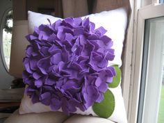 Hydrangea Pillow in White Linen and Purple Felt Bloom. dedeetsyshop, via Etsy.