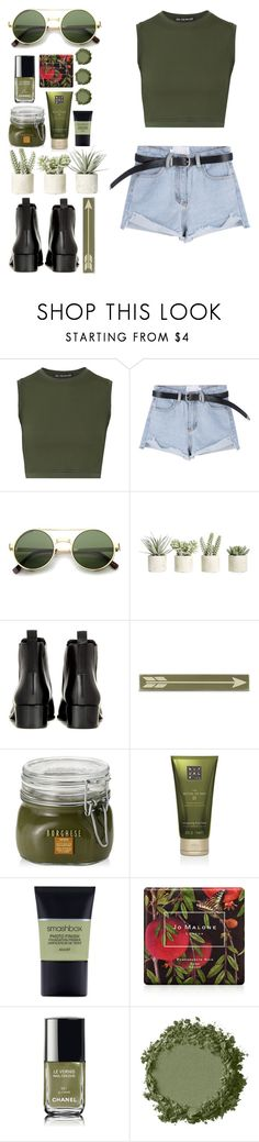 """Military Green"" by melaniemeran ❤ liked on Polyvore featuring Live the Process, ZeroUV, Allstate Floral, Acne Studios, Home Decorators Collection, Borghese, Rituals, Smashbox, Jo Malone and Chanel"