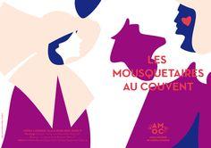 Carton d'invitation Les mousquetaires au couvent de Louis Varney pour l'Opéra Comique à Paris (création : Kanta Desroches)