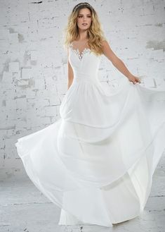 Delicate Chiffon Wedding Gown with a Sweetheart Bodice. Diamanté Beading and Three-Dimensional Floral Embroidery Trim The Illusion Neckline and Cap Sleeves. Colors Available: White, Ivory Mori Lee Wedding Dress, Chiffon Wedding Gowns, Wedding Dresses 2018, Wedding Dress Styles, Designer Wedding Dresses, Bridal Dresses, Cap Sleeve Gown, Cap Sleeves, Illusion Neckline Wedding Dress