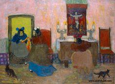 """Pedro Figari (Montevideo, 1861 - Montevideo, 1938)  """"Las beatas"""" ?, Huile sur carton, H. 60 cm ; L. 80,5 cm © pedrofigari.com"""