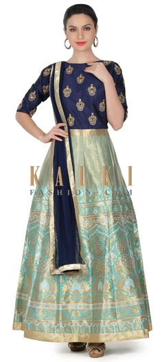 Buy this Blue anarkali suit with embroidered bodice only on Kalki