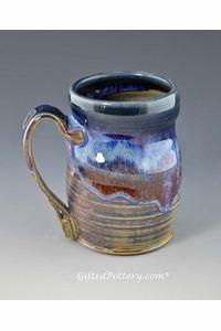 Handmade Pottery Mug 12 oz - Blue Bisque Glaze | GiftedPottery.com