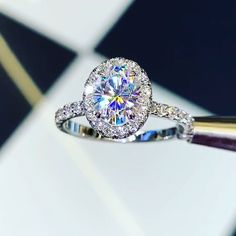Oval Forever One Moissanite in Diamond Halo Engagement Ring Setting - Perfect combo Manicures Engagement rings -- perfect combo Morganite Engagement, Halo Diamond Engagement Ring, Diamond Wedding Rings, Engagement Ring Settings, Bridal Rings, Oval Engagement, Rose Gold Diamond Ring, Dream Engagement Rings, Vintage Engagement Rings