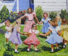 Ring around the Rosie 1950 s nostalgia painting children dancing in yard., painting by artist Kay Crain