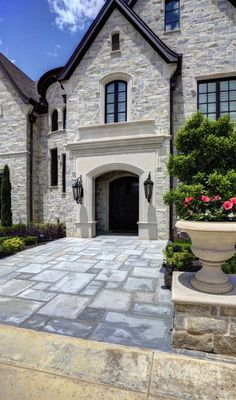 Exterior - Stone - Dallas - By Simmons Estate Homes Exterior Colors, Exterior Design, Wall Exterior, Stucco And Stone Exterior, Black Windows Exterior, Stucco Colors, Stone Facade, Stone Home Exteriors, Black Trim Exterior House