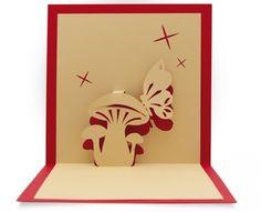 Kirigami d'un champignon et son papillon