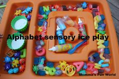 "Alphabet Ice sensory play ("",)"