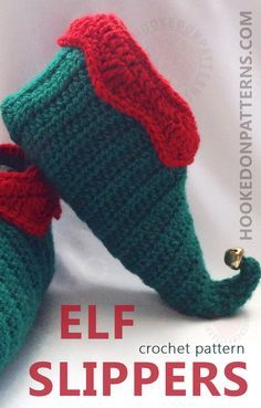 Elf Slippers Shoes Crochet Pattern - Crochet some fun curly toed slippers for Christmas. These slipper shoes crochet pattern includes all sizes from Toddler up to Adult Mens, so all the family can join in the festive fun! You can also use the pattern to make everyday slippers too.