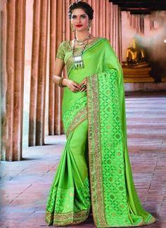 Parrot Green Embroidery Work Silk Designer Party Wear Fancy Sarees http://www.angelnx.com/Sarees/Designer-Sarees