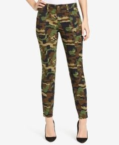 William Rast Camo-Print Skinny Pants - Green 31
