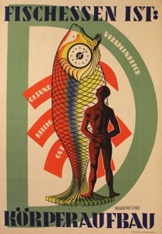Fish is Good for You, 1950s - original vintage poster listed on AntikBar.co.uk