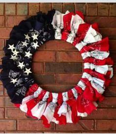 Bandana Wreath for Patriotic Holidays. Patriotic Crafts, Patriotic Wreath, July Crafts, Patriotic Decorations, Summer Crafts, 4th Of July Wreath, Diy And Crafts, Arts And Crafts, Summer Wreath