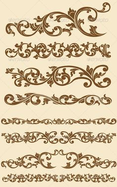 Buy Javanese Vintage Floral Ornament Set by BluezAce on GraphicRiver. A vector set of javanese's beautiful vintage of floral circle ornament. Motif Vintage, Vintage Patterns, Vintage Floral, Vintage Borders, Stencil Patterns, Stencil Designs, Embroidery Patterns, Motif Arabesque, Molduras Vintage