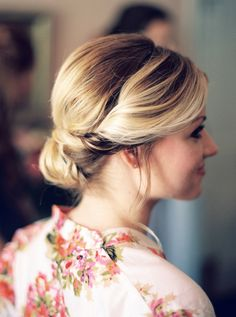 Twisted bridal chignon: http://www.stylemepretty.com/virginia-weddings/2015/08/11/romantic-summer-wedding-at-the-mill-at-fine-creek/ | Photography: Matoli Keely - http://matolikeelyphotography.com/