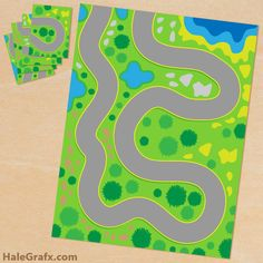 Free Printable Play Mat for Toy Cars~ prints onto 4 sheets of paper to make a larger playmat!