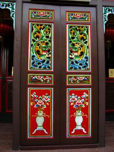 Chinese decorated door, melaka, malaysia by j. Portal, Grand Entrance, Entrance Ways, Chinese Door, Doors Galore, Building A Door, Classic Window, Entry Gates, Unique Doors