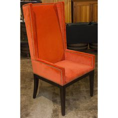 Orange Upholstered High Back Chair with Nail Head Trim