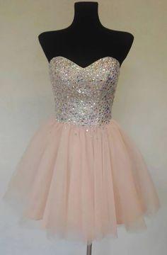 Sweetheart Neck Pink Tulle Beaded Short Strapless Prom