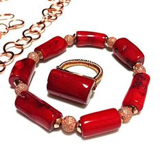Coral Copper Jewelry / Red Bamboo Coral and by DesignsByAlesia, $12.00