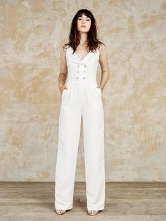 Bridal jumpsuit with a structured waistcoat design Elegance has Evolved www.houseofollichon.co.uk