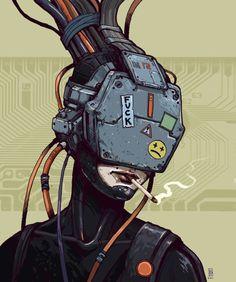 Hacker jacked in, cyberpunk / sci-fi inspiration  Rogue Telemetry - (via ArtStation - Cyberpunk, Boris Rogozin)