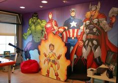 The Avengers Murals for Kid Play Room  Cartoon Wall Murals Ideas for Your Kids