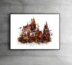 SALE Harry Potter watercolor Hogwarts castle by InstantGoodVibes