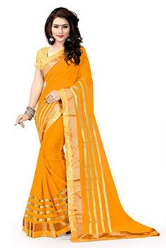 04d2d4238b1b45 Riva Enterprise women's Broket material heavy border yellow color saree  with heavy broket blouse (RIVA241_