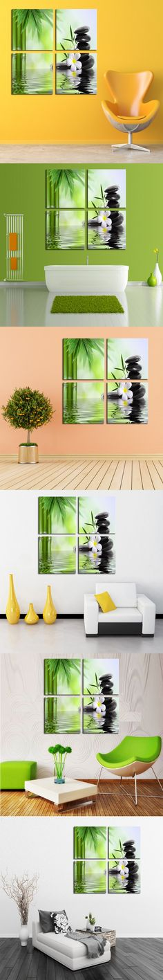 Bamboo Stone Scenery Modern Home Wall Decor Canvas Picture Art Print Painting On Canvas For Home Decoration (Unframed 4 Pieces) $19