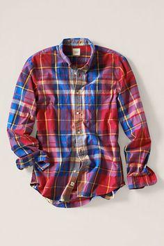 Men's Large Plaid Poplin Shirt from Lands' End Canvas