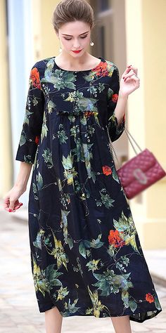 Retro O-Neck Long Sleeve Floral Print A-Line Dress